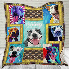 Pit Bull Quilt Blanket, Gifts for Pitbull Lovers, Pitbull Owner Quilt Blanket