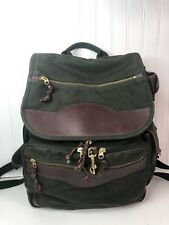 Orvis Businessman Olive Green Canvas Brown Leather Backpack Travel Work Bag