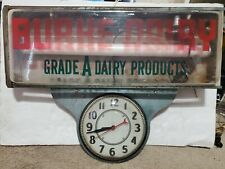 Vintage Rare 1950s Burke Dairy Clock and Lighted sign
