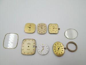 Lote 6 máquinas y esferas reloj pulsera mujer. Cuarzo. Omega / Longines. Años 70