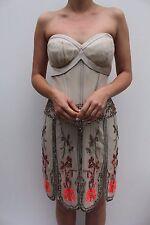 Karen Millen Floral Embroidered Flapper 20's Beaded Evening Cocktail Dress 16 44