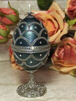 Russian Faberge REAL Egg SILVER MUSIC Green Fabrege Egg Trinket HAND Decor.64ct