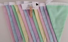 Fabric bunting flags pastel plain #1-DOUBLE SIDED 2mt