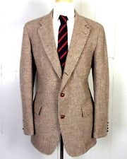 vtg HARRIS TWEED Barleycorn Wool 3 Button Blazer Shooting Jacket Chin Strap 42 L