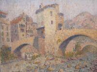 Le vieux pont de Sospel . Important tableau de Joseph Lépine ( 1867-1943 )