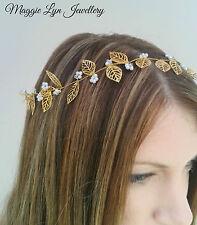 Boho-Chic Halo, Gold leaf hair vine garland Swarovski element. wedding bride UK