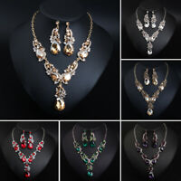 Women Crystal Necklace Earrings Chain Pendant Party Bridal Jewelry Set Gifts New