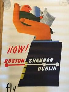 Fly Irish Airlines - Boston - Shannon - Dublin   John Bainbridge Poster Original