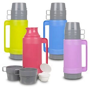 1L Insulated Hot & Cold Drink Food Vacuum Camping Bottle Lunch Flask 2 Cups Mugs