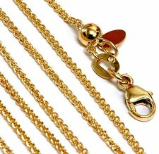 """New 14k yellow gold 1.27mm Spiga chain link necklace adjustable up to 18"""" 3.43g"""
