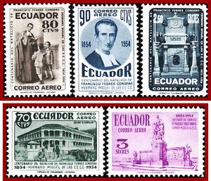 Ecuador 1954 Memory-day of Franciso Febres-Cortero, Religion * MVLH, Mi 856-860