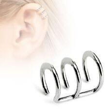 TRIPLE Hoop Rings Fake NON Piercing Cheater CARTILAGE EAR CUFFS Clip on Earrings