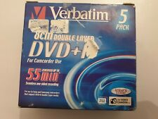 Verbatim 5 Pack 8cm Double Layer DVD+R For Video CAMERA 2.6 GB /2.4X RW  NEW