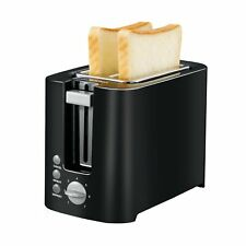 Bonsenkitchen 2-slice Black Toaster Small Compact Bread Toaster for Space Sav.