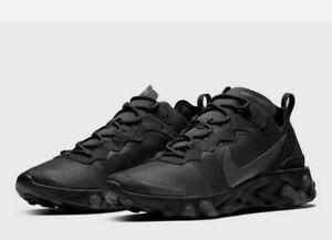 Nike React Element 55 Running Shoes Black Dark Gray BQ6166-008 Men's NEW
