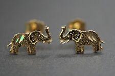 14K Solid Yellow Gold Women Children Diamond Cut Elephant Stud Earrings.
