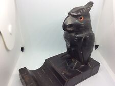 BLACK FOREST CARED WOODEN INK WELL IN THE SHAPE OF A OWL.