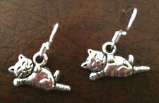 Cat Nap Earrings on 925 Sterling Silver Wires animal pet kitty tabby kitten