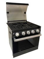 "20"" RV 3-Burner Gas Oven Range with Die-cast grates Furrion F1S21L02A-BL"