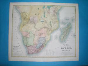 1871 ORIGINAL MAP SOUTH AFRICA CAPE TOWN NATAL RHODESIA  ANGOLA NAMIBIA TANZANIA