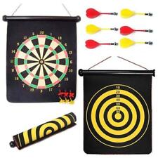 "17"" Magnetic Dart Board Dartboard 6 Darts Hang Indoor Roll Up Double Sided Fun"