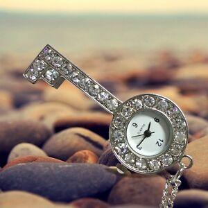 Miniature Shining Rhinestones Key Pendant Necklace Mini Pocket Watches Presents