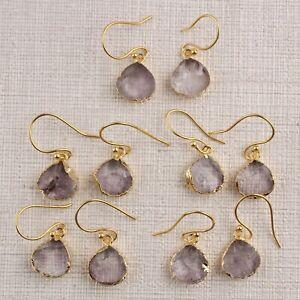Light Purple Amethyst Heart Shape 24k Gold Plated Drop Dangle Handmade Earrings