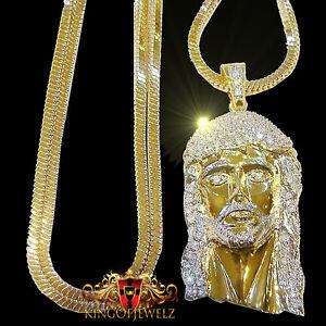 Men's New Gold Finish Diamond Simulated Jesus Face Charm+Chevron Chain Necklace