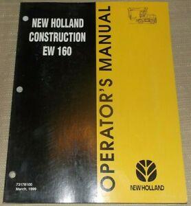 NEW HOLLAND EW160 WHEELED EXCAVATOR OPERATION & MAINTENANCE MANUAL BOOK