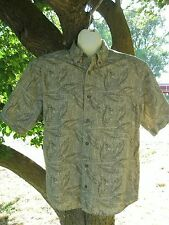 WOOLRICH Shirt Medium 100% Cotton Khaki Newspaper Bass Beige Green Short Sleeve