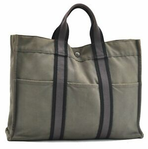Authentic HERMES Fourre Tout MM Hand Tote Bag Gray A6012