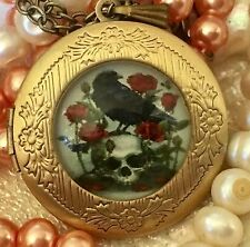 Raven On Skull With Roses Locket, Round Pendant Necklace. Bronze