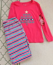 New Jammies For Your Families Family Loves Christmas  Pajamas 2 Pc Women's Sz M