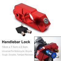 Motorcycle Handlebar Grip Brake Lever Lock Anit Theft Security Lock Red 2 keys