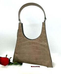 AUTH NWT $325 STAUD Rey Croc Embossed Leather Hobo Shoulder Bag In French Gray