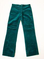 Vintage Granny Takes a Trip Pants Original Velvet Trousers 1970s Green 30x30