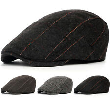 Men Duckbill Ivy Flat Cap Herringbone Hat Boys Golf Gatsby Newsboy Grey Wool Mix