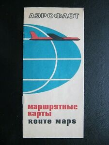 AEROFLOT SOVIET AIRLINE rare world route map edition 1963 in excellent condition