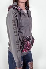 Gray Muddy Girl Camo Hoodie | Full Zipper | Pink & Purple & Black Camo