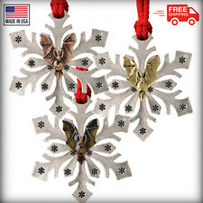 Pewter Bat Snowflake Christmas Tree Ornaments, Made in the USA