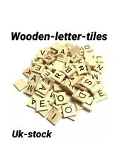 100 WOODEN SCRABBLE TILES BLACK LETTERS NUMBERS FOR CRAFTS WOOD ALPHABETS Light