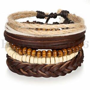 5pcs Leather Bracelets for Men Women Wooden Beaded Bangle Braided Cuff Wristband
