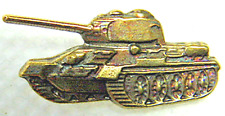 Russian Army T-34 Tank Tanker Lapel Pin Badge Insignia Brass 24x10 mm Original