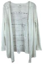AEROPOSTALE White Lace Back Slouchy Lightweight Shrug Sweater LARGE