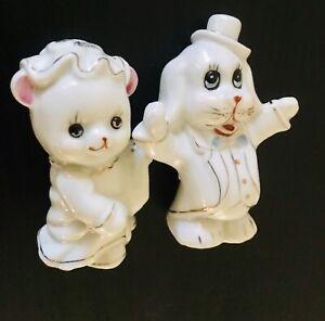 Vintage Dog And Cat Figurine - Bride And Groom - Lady Gentleman - 1950's