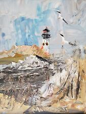 WOW! 1979 Rare Signed Morris Katz LIGHTHOUSE SEASCAPE SEAGULLS Art Painting