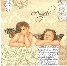 4 Tovaglioli di carta singolo DECOUPAGE. Angel, ANGELI, oro, design classico - 377