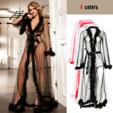 Womens Sexy Feather Nightgown Sleepwear See-through Dress Lingerie Robe Bathrobe