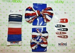Scunci Elastics Patriotic Set Sequin Bow Barrettes & 5 Piece Snap Clips