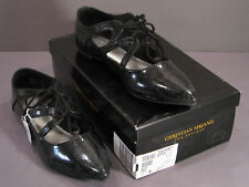 New listing Christian Siriano Audri Black Reptile Print Ghillie Lace-Up Shoes Size 9 Nib